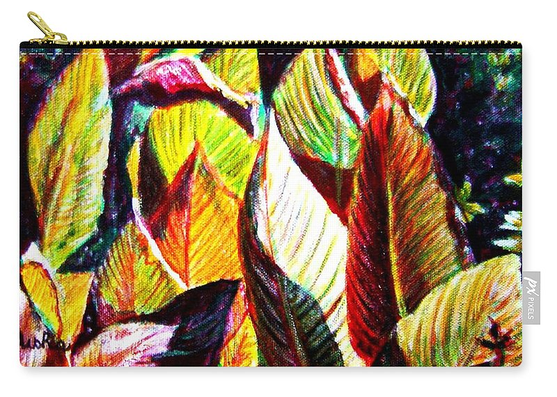 Plants Carry-all Pouch featuring the painting Crotons Sunlit 2 by Usha Shantharam