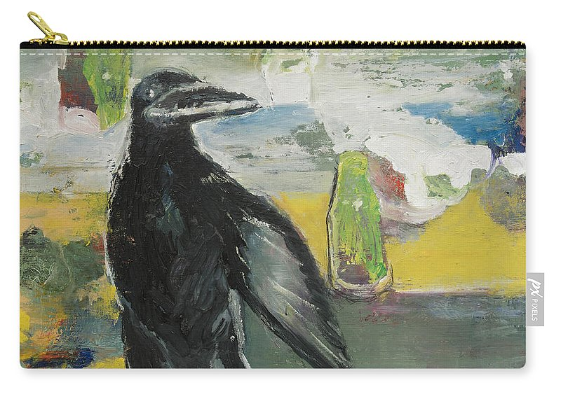 Crow Carry-all Pouch featuring the painting Crow Ruckus by Craig Newland