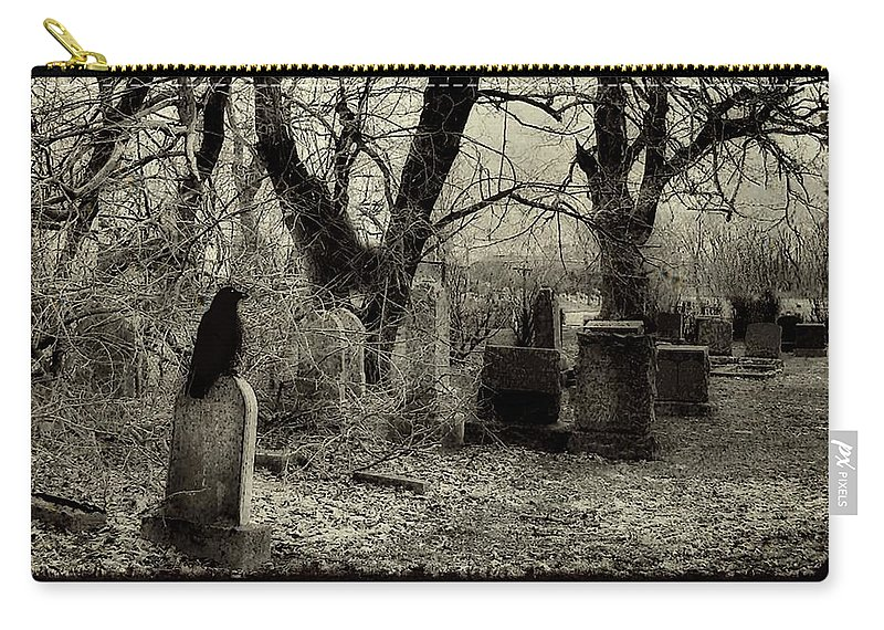 Crow Carry-all Pouch featuring the photograph Crow Waits On Tombstone by Gothicrow Images