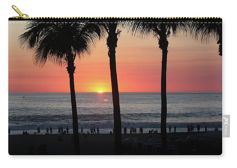 Beach Carry-all Pouch featuring the photograph Crowd At Sunset by Gravityx9 Designs