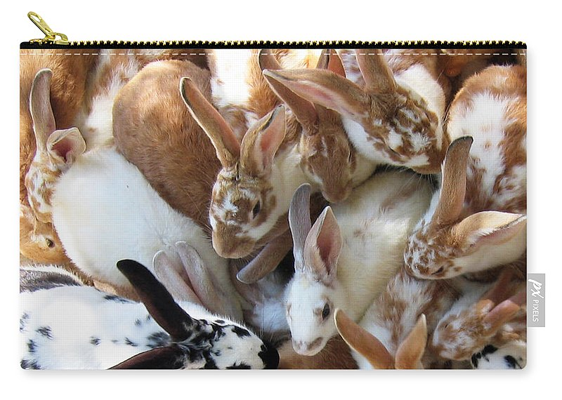 Crowd Carry-all Pouch featuring the photograph Crowd Of Rabbits by Svetlana Sewell