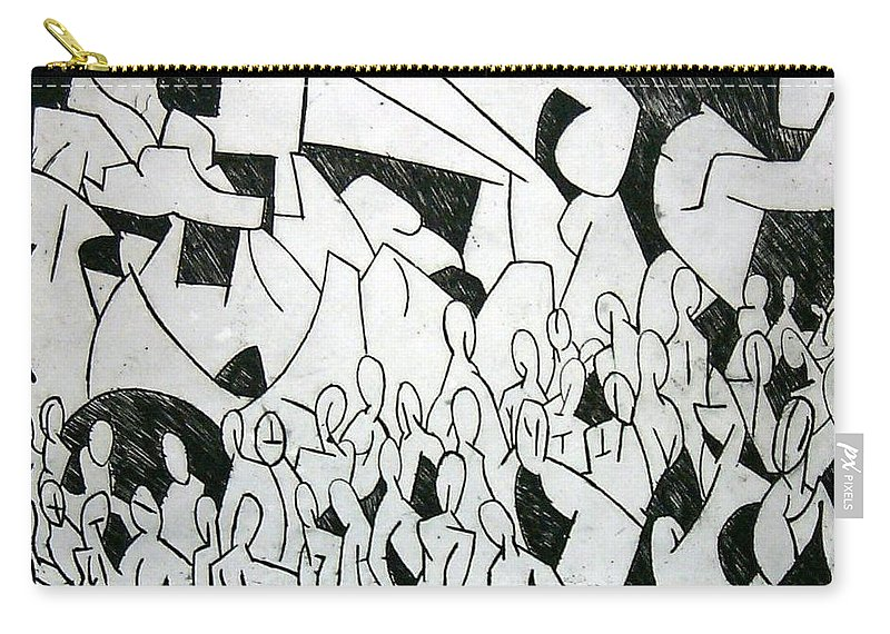 Etching Carry-all Pouch featuring the print Crowd by Thomas Valentine