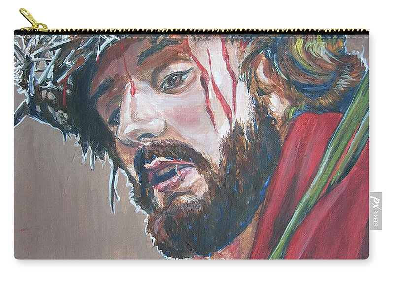 Jesus Christ Carry-all Pouch featuring the painting Crown Of Thorns by Bryan Bustard