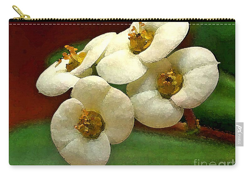 Flowers Carry-all Pouch featuring the photograph Crown Of Thorns by Deborah Benoit
