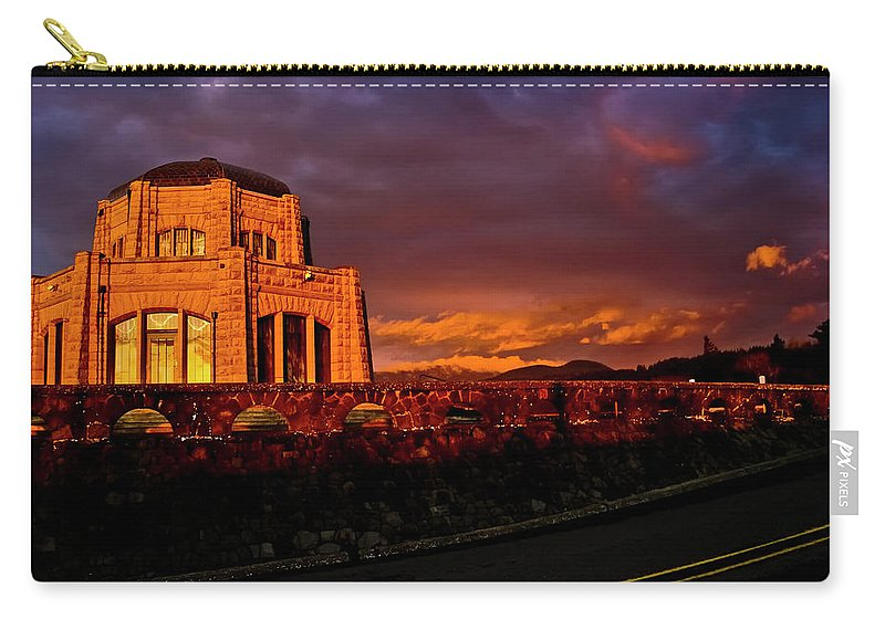Vista House Carry-all Pouch featuring the photograph Crown Point At Sunset by Albert Seger