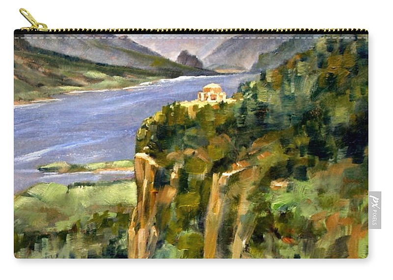 16 X 12 Carry-all Pouch featuring the painting Crown Point Oregon by Jim Gola