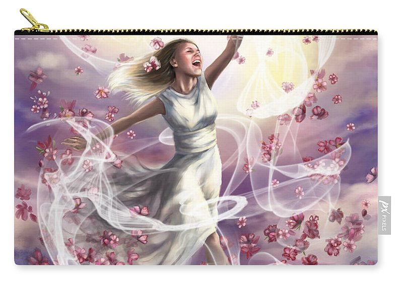 Prophetic Art Carry-all Pouch featuring the painting Crowned With Glory... Dancing In Glory by Tamer and Cindy Elsharouni
