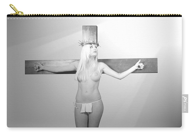 Black And White Carry-all Pouch featuring the photograph Crucifix And Light by Ramon Martinez