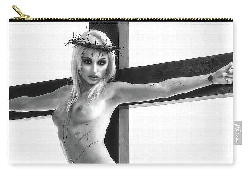 Crucifix Carry-all Pouch featuring the photograph Crucifix Portrait I by Ramon Martinez