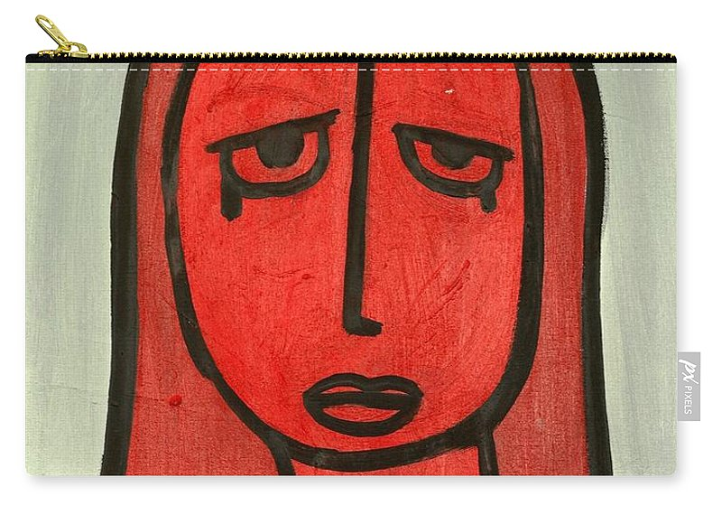 Clay Carry-all Pouch featuring the painting Crying Girl by Thomas Valentine