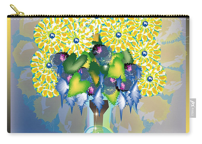 Flowers Carry-all Pouch featuring the digital art Crystal Boquet by George Pasini