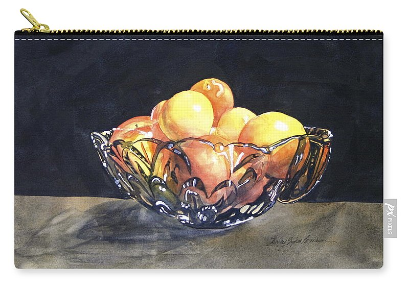 Fruit Carry-all Pouch featuring the painting Crystal Bowl With Fruit by Shirley Sykes Bracken
