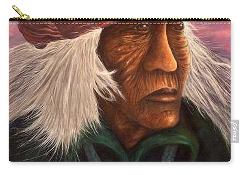 Native American Carry-all Pouch featuring the painting Cuauhtemoc by Barney Napolske