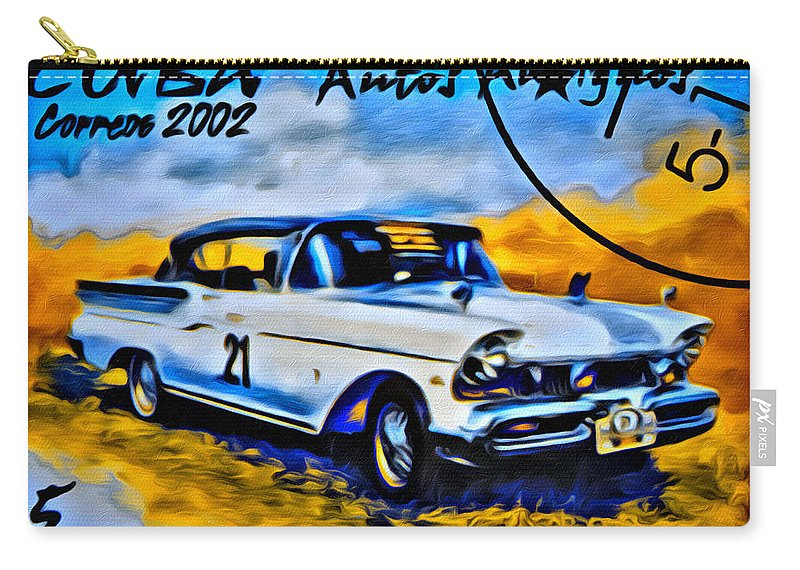 Car Carry-all Pouch featuring the photograph Cuba Antique Auto 1957 Mercury Monterrey by Modern Art