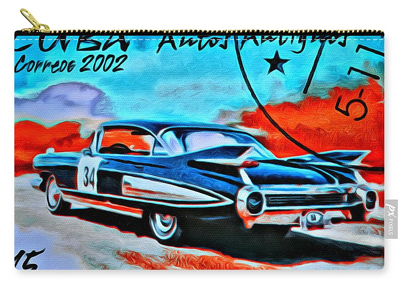Car Carry-all Pouch featuring the photograph Cuba Antique Auto 1959 Fleetwood by Modern Art