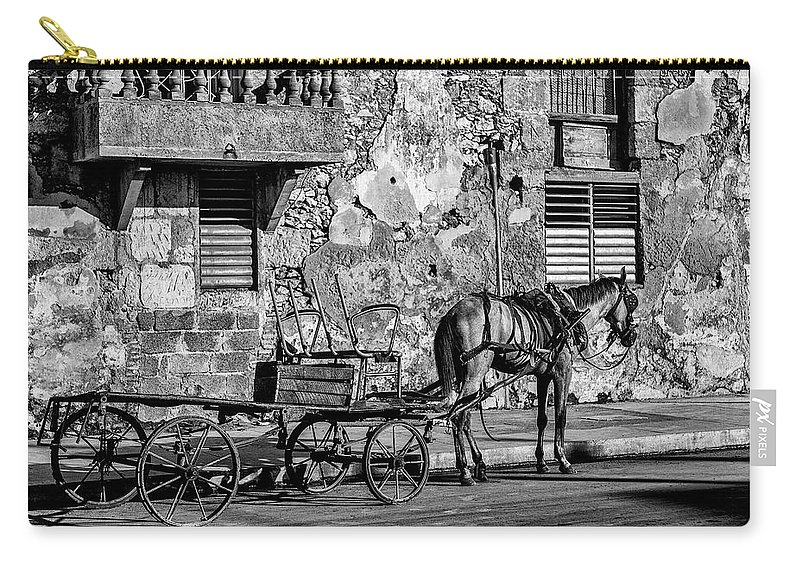 Cuban Horse Power; Cuban; Horse; Power; Horse And Carriage; Carriage; Hp; Cuba; Photography & Digital Art; Photography; Photo; Photo Art; Art; Digital Art; 2bhappy4ever; 2bhappy4ever.com; 2bhappy4evercom; Tobehappyforever; Carry-all Pouch featuring the photograph Cuban Horse Power BW by Erron