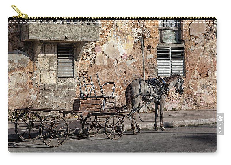 Cuban Horse Power; Cuban; Horse; Power; Horse And Carriage; Carriage; Hp; Cuba; Photography & Digital Art; Photography; Photo; Photo Art; Art; Digital Art; 2bhappy4ever; 2bhappy4ever.com; 2bhappy4evercom; Tobehappyforever; Carry-all Pouch featuring the photograph Cuban Horse Power FC by Erron
