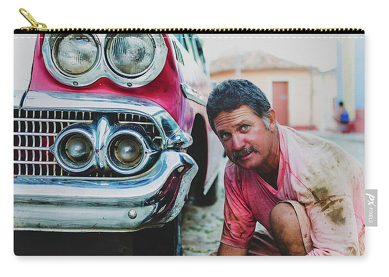 Potrait Carry-all Pouch featuring the photograph Cuban Mechanic by Blaz Gvajc