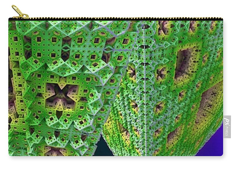 Fractal Carry-all Pouch featuring the digital art Cubes In Green by Ron Bissett