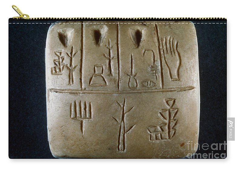 3rd Century B.c. Carry-all Pouch featuring the photograph Cuneiform by Granger