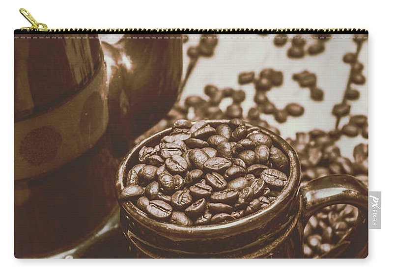 Roasted Carry-all Pouch featuring the photograph Cup And Teapot Filled With Roasted Coffee Beans by Jorgo Photography - Wall Art Gallery