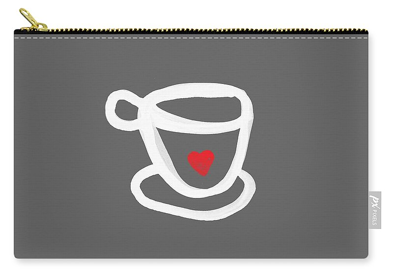Coffee Carry-all Pouch featuring the painting Cup of Love- Shirt by Linda Woods