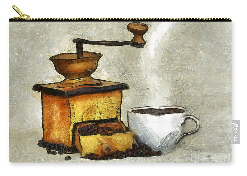Altered Carry-all Pouch featuring the mixed media Cup Of The Hot Black Coffee by Michal Boubin