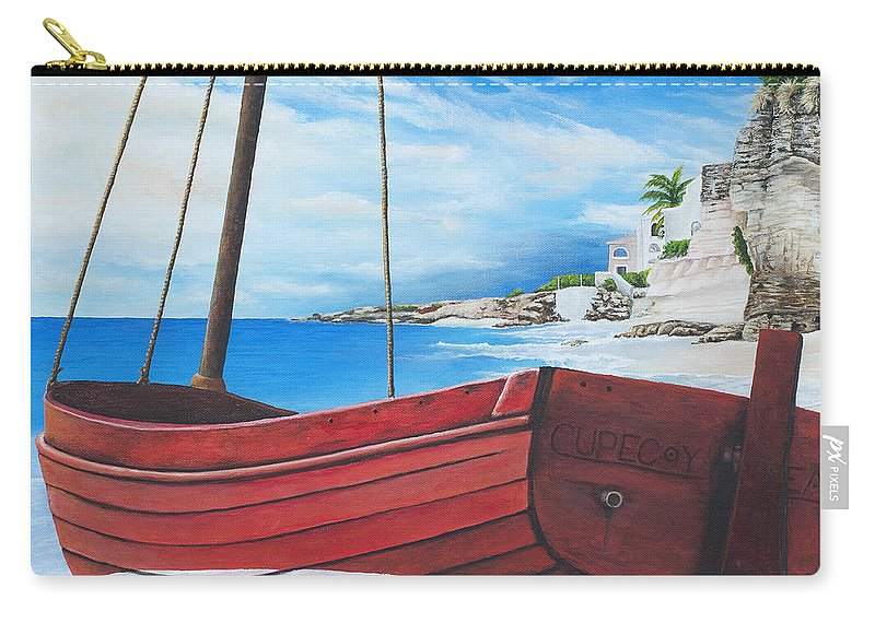 St Maarten Carry-all Pouch featuring the painting Cupecoy Beach by Cindy D Chinn