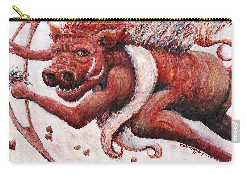 Pig Carry-all Pouch featuring the painting Cupig by Nadine Rippelmeyer