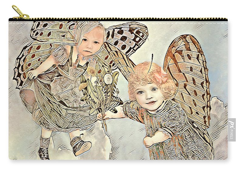 Butterfly Carry-all Pouch featuring the mixed media Curiosity by Amelia Carrie