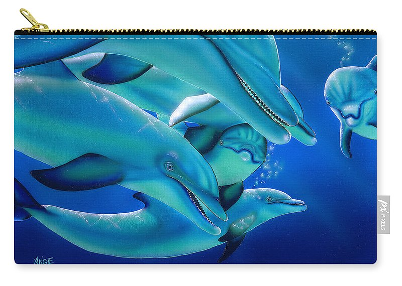 Dolphins Carry-all Pouch featuring the painting Curiosity by Angie Hamlin