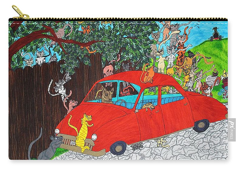 Cartoon Carry-all Pouch featuring the drawing Curiosity by Wanda Gancarz