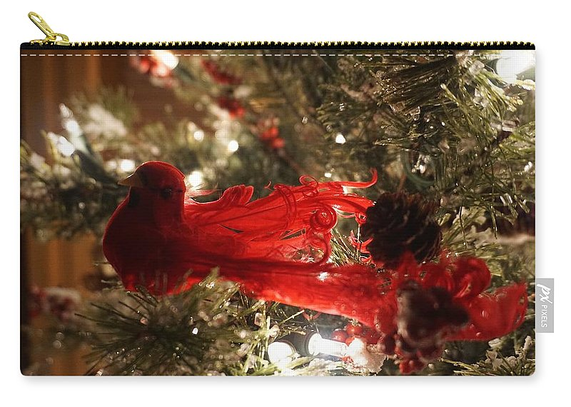Decoration Carry-all Pouch featuring the photograph Curly Cardinal by Susan Brown