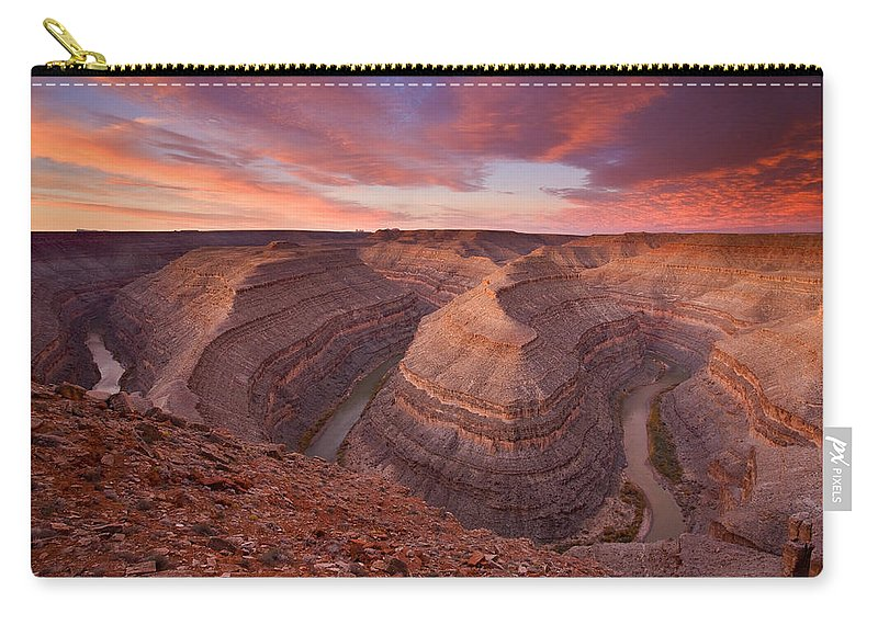 Canyon Carry-all Pouch featuring the photograph Curves Ahead by Mike Dawson