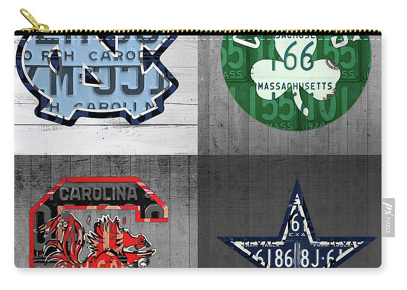Unc Carry-all Pouch featuring the mixed media Custom 4 Team License Plates Sport Art No 1 by Design Turnpike