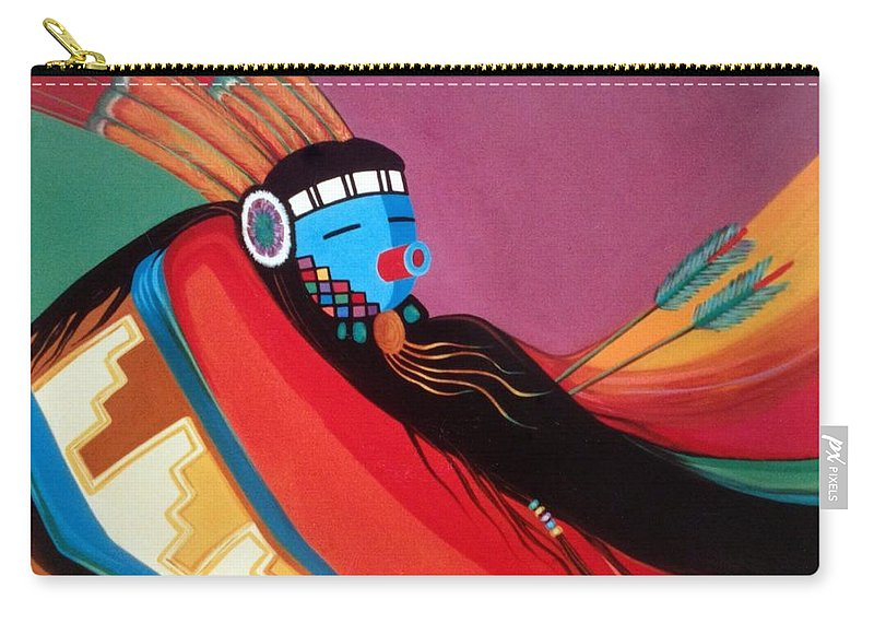 Kachina Carry-all Pouch featuring the painting Custom Kachina by Marlene Burns