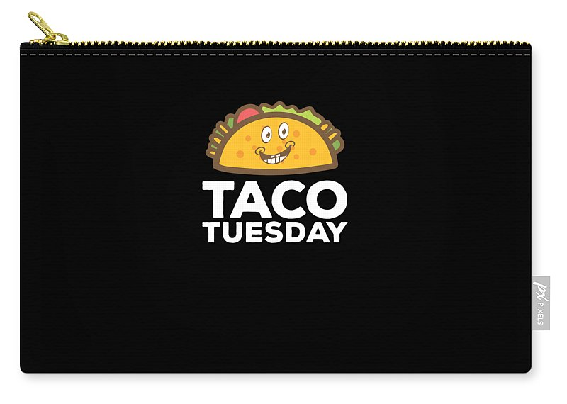 Cute-taco Carry-all Pouch featuring the drawing Cute Funny Taco Tuesday Smiling Taco by The Perfect Presents
