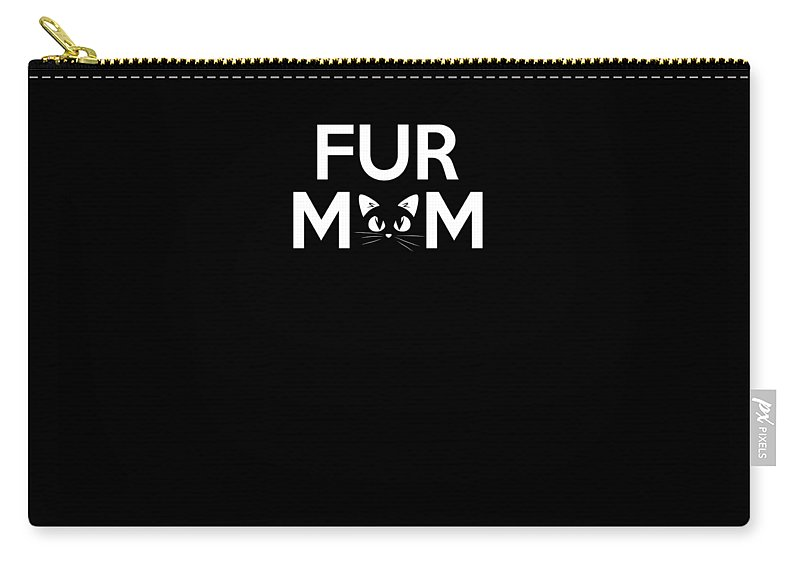 Cat Carry-all Pouch featuring the drawing Cute Fur Mom For Cat Owners Cat Lovers by The Perfect Presents