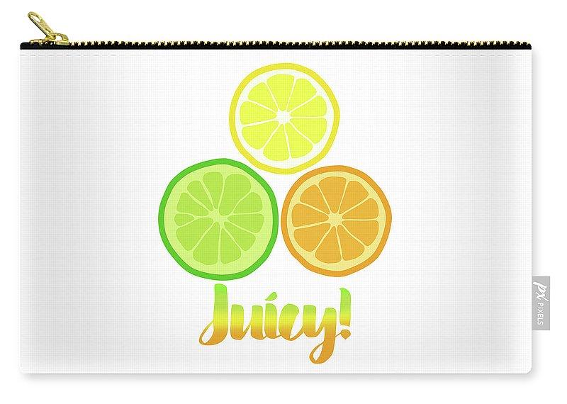 Juicy Carry-all Pouch featuring the digital art Cute Juicy Orange Lime Lemon Citrus Fun Art by Tina Lavoie