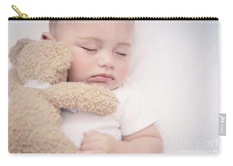 Adorable Carry-all Pouch featuring the photograph Cute Little Baby Sleeping by Anna Om