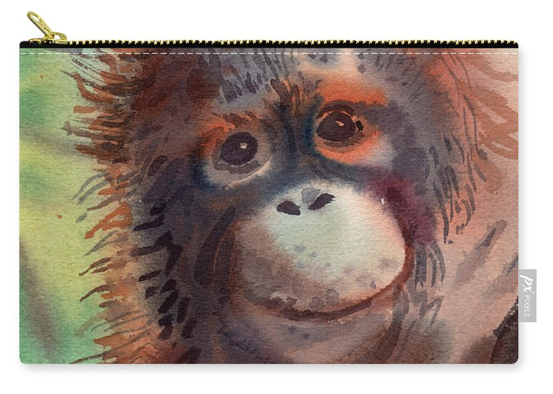 Orangutans Carry-all Pouch featuring the painting My Precious by Donald Maier