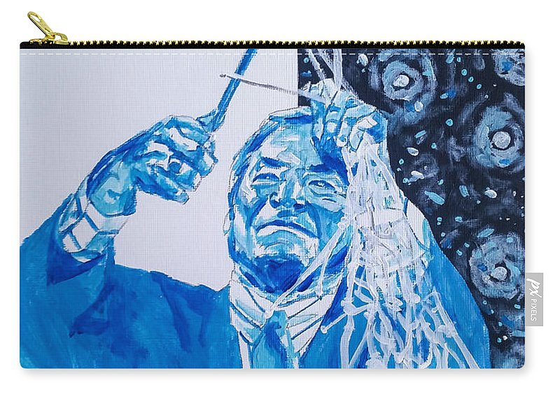 Dean Smith Carry-all Pouch featuring the painting Cutting Down The Net - Dean Smith by Joel Tesch