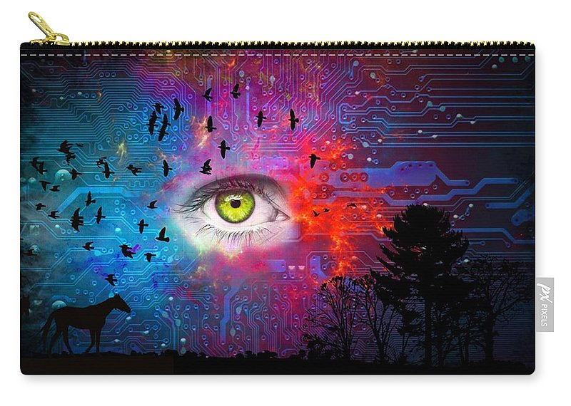 Abstraction Carry-all Pouch featuring the digital art Cyber Nature by Paulo Zerbato
