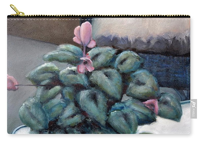 Cyclamen Carry-all Pouch featuring the painting Cyclamen And Wicker by Michelle Calkins