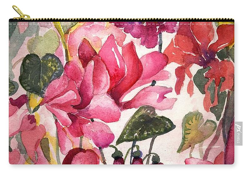 Cyclamen Carry-all Pouch featuring the painting Cyclamen by Mindy Newman
