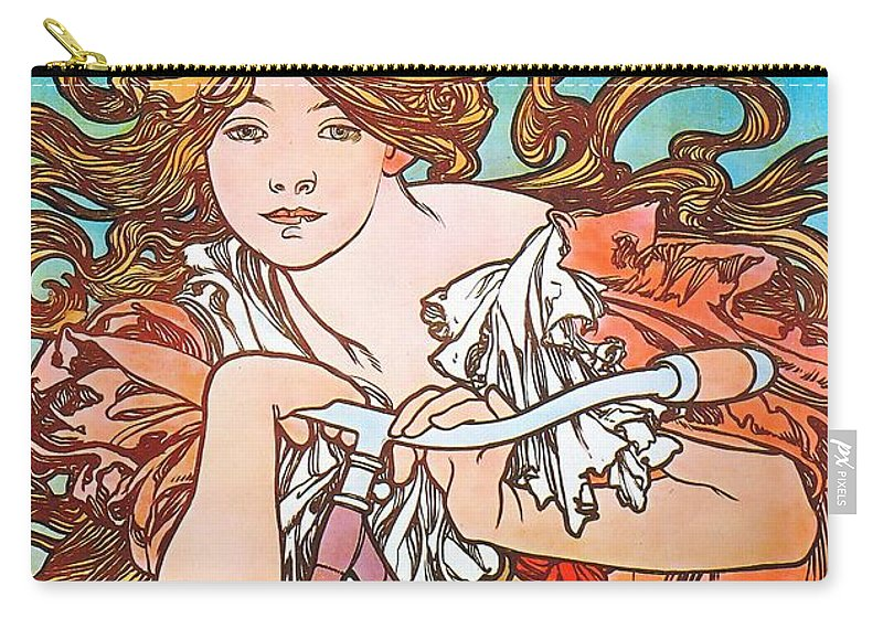 Alphonse Mucha Carry-all Pouch featuring the painting Cycles Perfecta by Alphonse Mucha