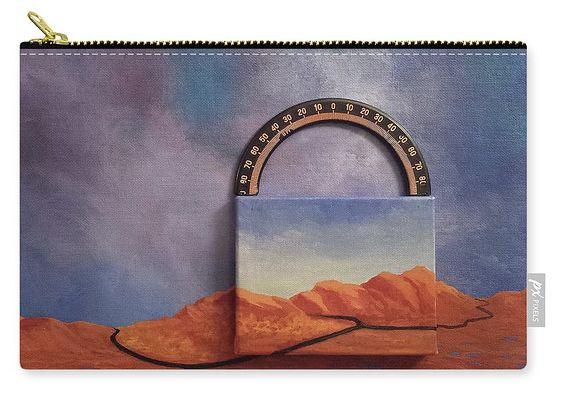 Clouds Mountains Meridian Carry-all Pouch featuring the painting Cyclic Existence by Beth Waltz