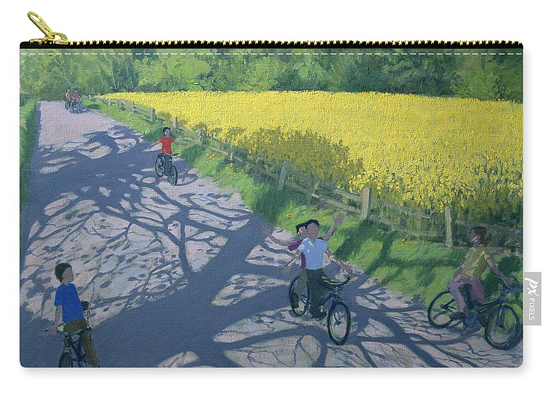 Rape Carry-all Pouch featuring the painting Cyclists And Yellow Field by Andrew Macara