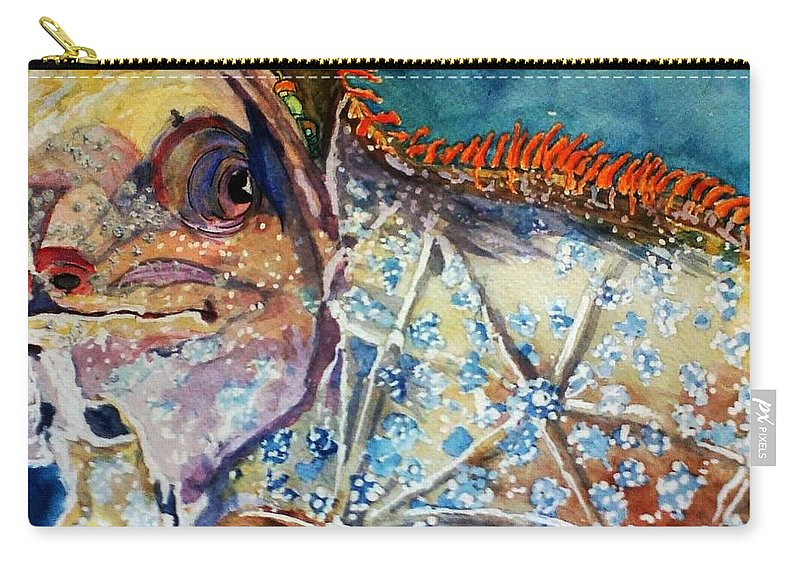 Cyclura Carry-all Pouch featuring the painting Cyclura With Rasta Beads by Jean M Klein