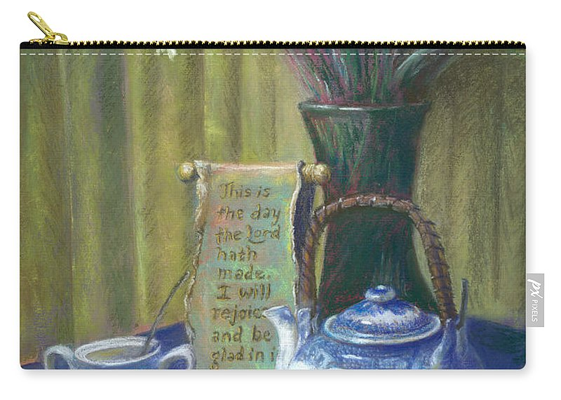 Fine Art Print Carry-all Pouch featuring the painting Cyndis Tea Time by Penny Neimiller